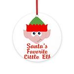 Santas Favorite Little Elf Ornament (Round)