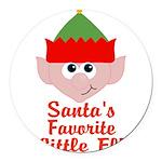 Santas Favorite Little Elf Round Car Magnet