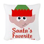 Santas Favorite Little Elf Woven Throw Pillow