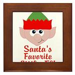 Santas Favorite Little Elf Framed Tile