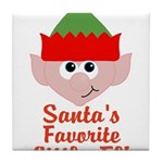 Santas Favorite Little Elf Tile Coaster