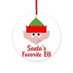 Santas Favorite Elf Ornament (Round)