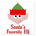 Santas Favorite Elf Square Car Magnet 3