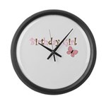 Birthday Girl Pink Butterfly Large Wall Clock
