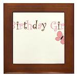 Birthday Girl Pink Butterfly Framed Tile