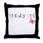 Birthday Girl Pink Butterfly Throw Pillow