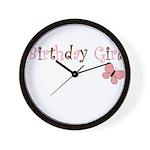 Birthday Girl Pink Butterfly Wall Clock