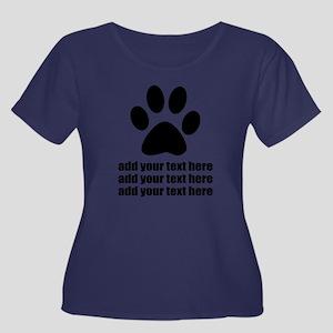 Dog's pa Women's Plus Size Scoop Neck Dark T-Shirt