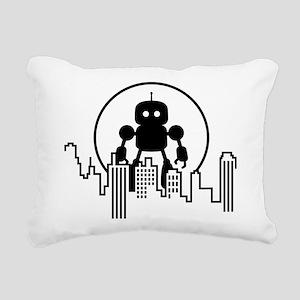 Robot Skyline Rectangular Canvas Pillow