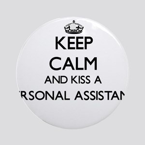 Keep calm and kiss a Personal Ass Ornament (Round)