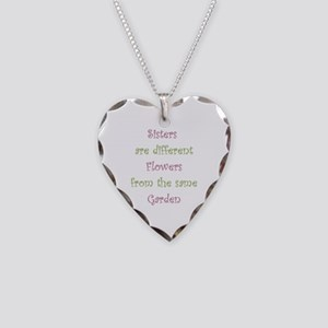 Sisters Different Flowers Necklace Heart Charm
