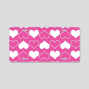 Pink and White Hearts Patte Aluminum License Plate