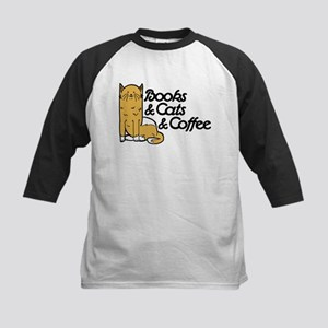 Books & Cats & Coffee Kids Baseball Jersey