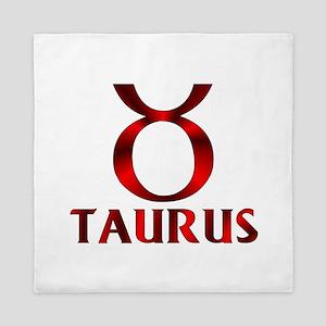 Red Taurus Symbol Queen Duvet