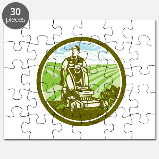 Ride On Lawn Mower Vintage Retro Puzzle