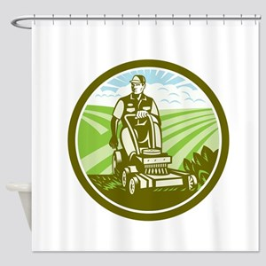 Ride On Lawn Mower Vintage Retro Shower Curtain
