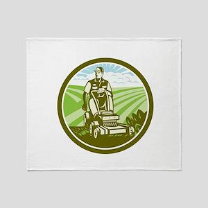 Ride On Lawn Mower Vintage Retro Throw Blanket