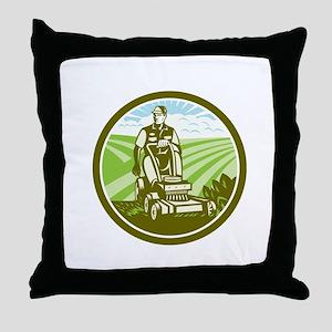 Ride On Lawn Mower Vintage Retro Throw Pillow