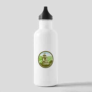 Ride On Lawn Mower Vintage Retro Water Bottle