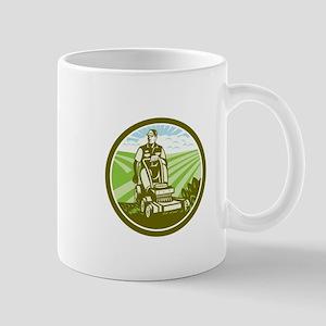 Ride On Lawn Mower Vintage Retro Mugs