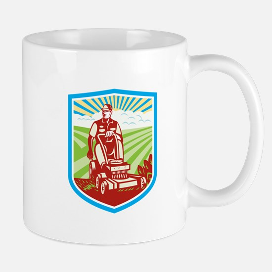 Ride On Lawn Mower Vintage Shield Retro Mugs