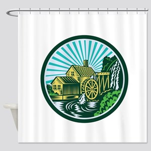 Watermill House Circle Retro Shower Curtain