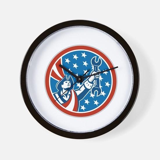 American Mechanic Patriot Holding Spanner Circle R