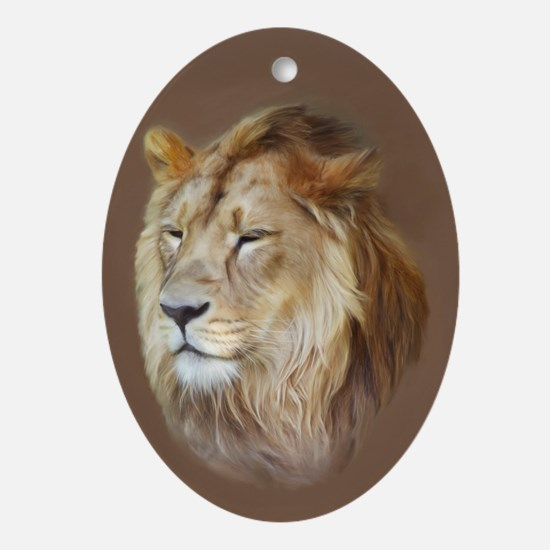 Painting Lion Ornament (Oval)