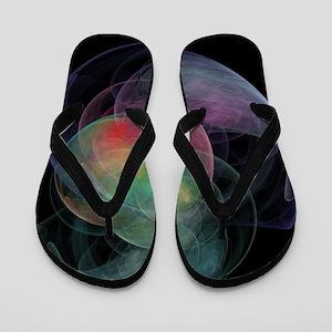 Abstract Art Space Shell Flip Flops