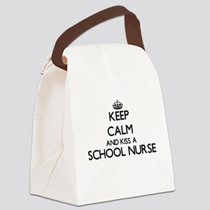 Keep calm and kiss a School Nurse Canvas Lunch Bag
