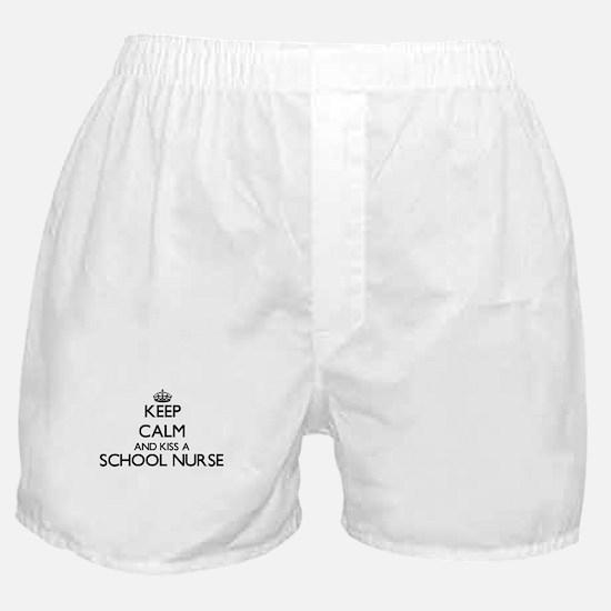 Keep calm and kiss a School Nurse Boxer Shorts