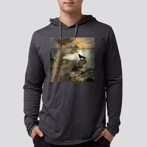 The lonely wolf on the flying rock Long Sleeve T-S