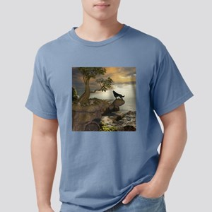 The lonely wolf on the flying rock T-Shirt