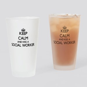 Keep calm and kiss a Social Worker Drinking Glass