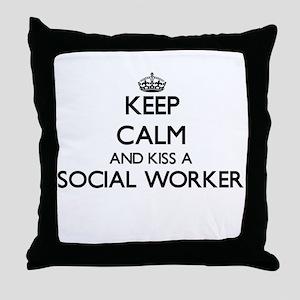Keep calm and kiss a Social Worker Throw Pillow