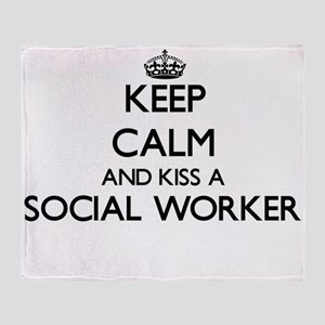 Keep calm and kiss a Social Worker Throw Blanket