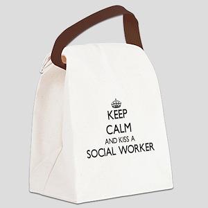 Keep calm and kiss a Social Worke Canvas Lunch Bag