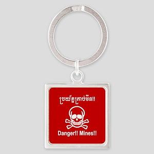 Danger!! Mines!! Cambodian Khmer Sign Keychains