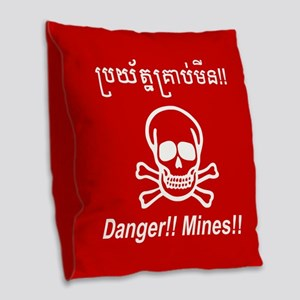 Danger!! Mines!! Cambodian Khmer Sign Burlap Throw