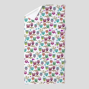 happy owls Beach Towel
