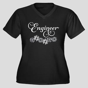 Engineer Script Flowers Plus Size T-Shirt