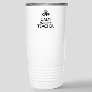 Keep calm and kiss a Te Stainless Steel Travel Mug