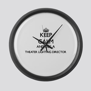 Keep calm and kiss a Theater Ligh Large Wall Clock