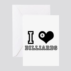 I Heart (Love) Billiards Greeting Cards (Package o
