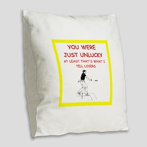 i love horseshoes Burlap Throw Pillow