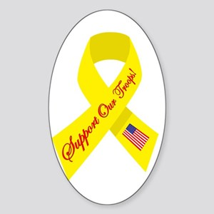 Support Our Troops Ribbon Oval Sticker