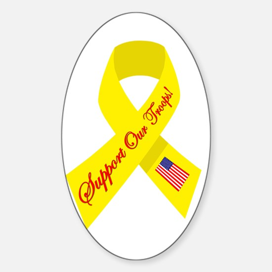 Support Our Troops Ribbon Oval Decal