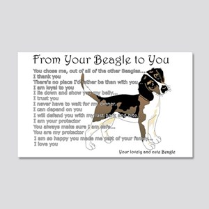A Beagle's Letter To You 20x12 Wall Decal