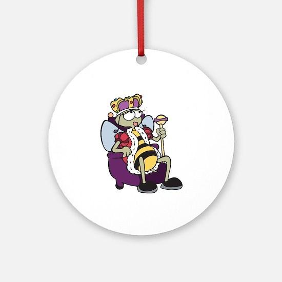 Queen Bee Cartoon Ornament (Round)