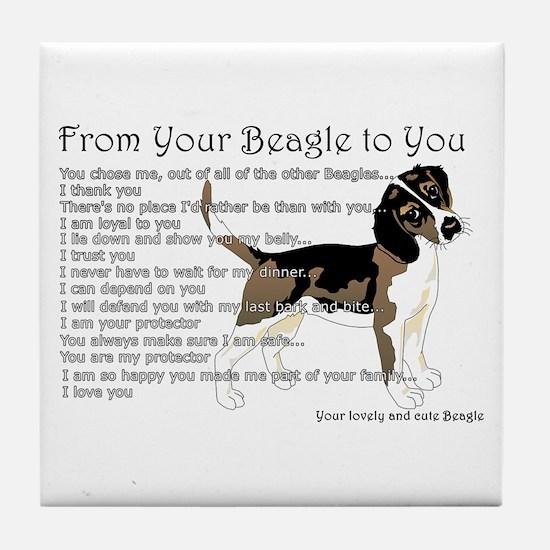 A Beagle's Letter To You Tile Coaster